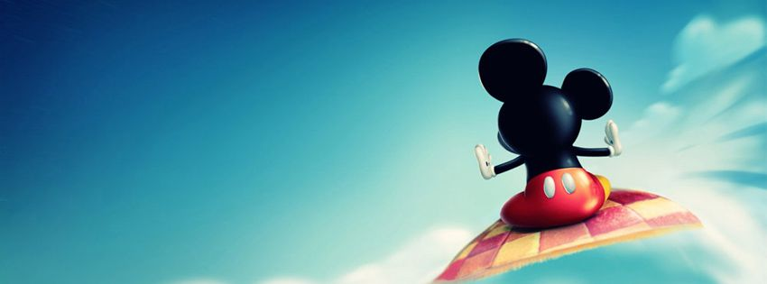 Mickey Mouse With Flying Carpet Facebook Cover Cover