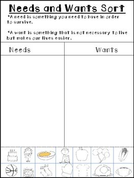 Needs And Wants Sort Freebie | Teaching social studies ...