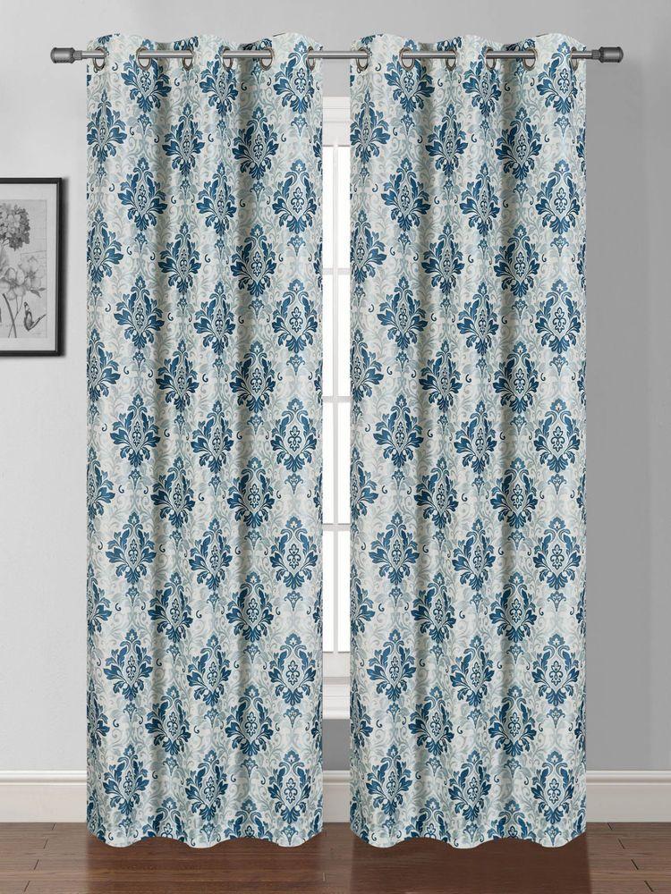 2 PANELS PRINTED DESIGN TEAL BLUE GROMMET FAUX SILK WINDOW CURTAIN DRAPE JE