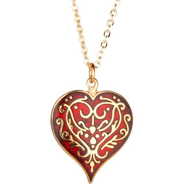 heart antique vintage plated stunning red silver necklace pendant kittijewelry