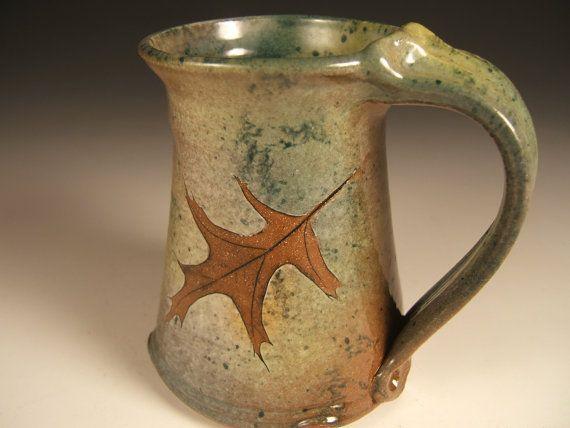 coffee mug tea mug stoneware in fern and pin oak with green leaf glaze 10-12 ounces #teamugs