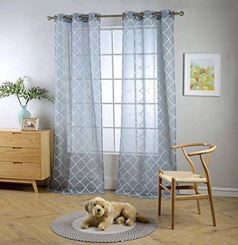 Miuco Sheer Curtains Embroidered Trellis Design Grommet Curtains