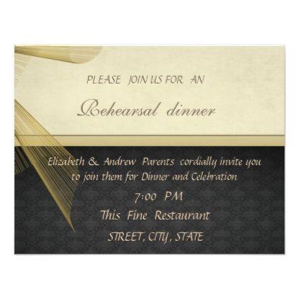 Elegant Stylish Black Wedding Rehearsal Dinner Card Rehearsal