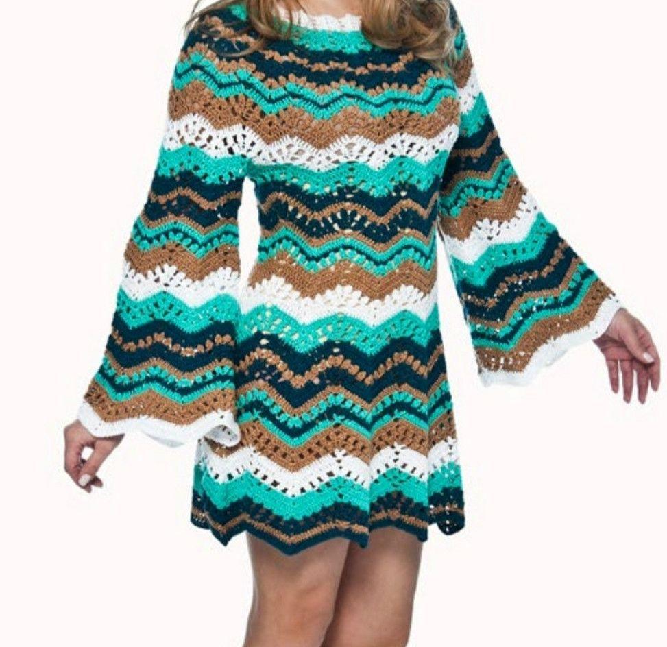 Crochet Pattern: Dress pattern shop with zig zag | Crochet primavera ...