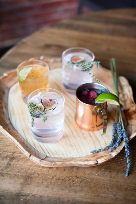 Raspberry Moscow Mule and Fancy Fig cocktails | Sarah Box Photography