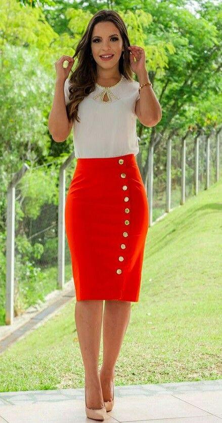 9b332e10b Falda roja!!!!! | MODAS | Faldas, Faldas tubo y Outfits con faldas