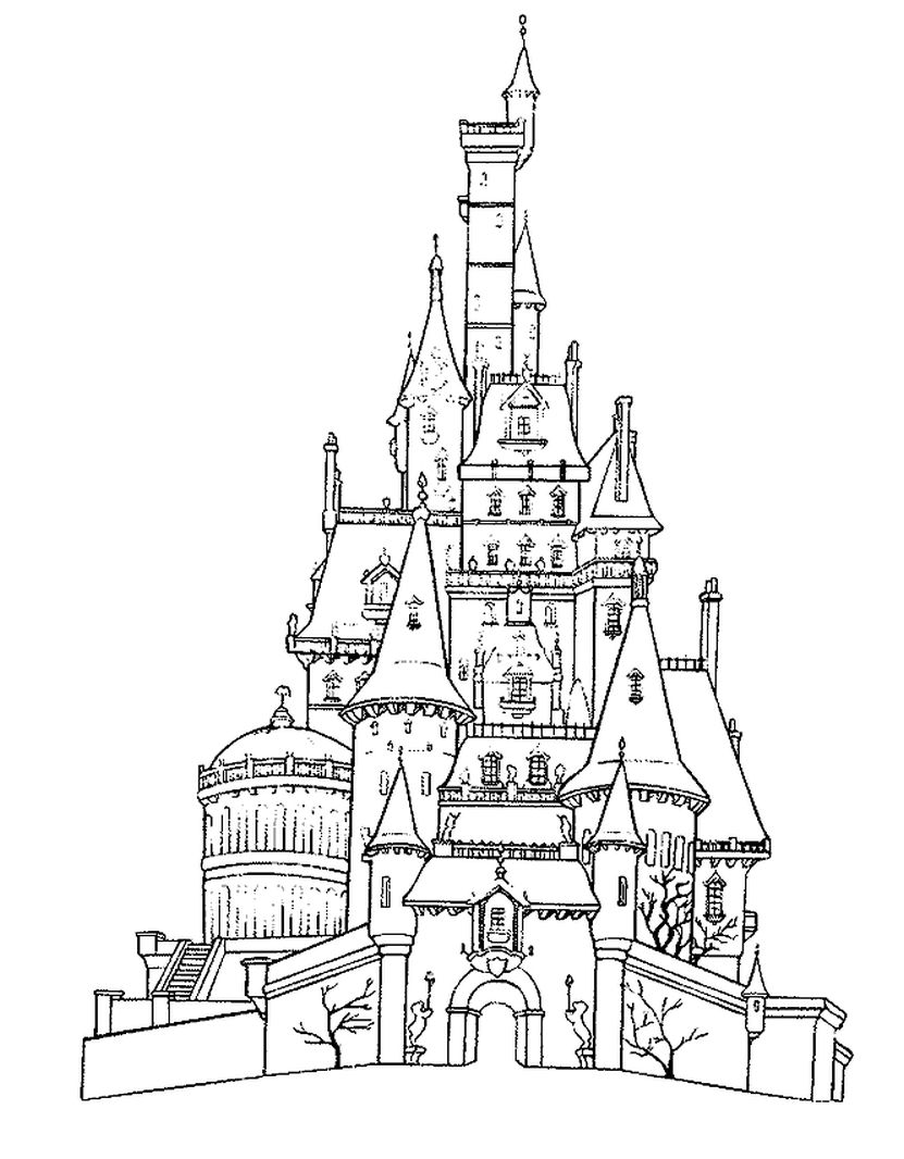 adult coloring pages of realistic castle - Castle Coloring Pages