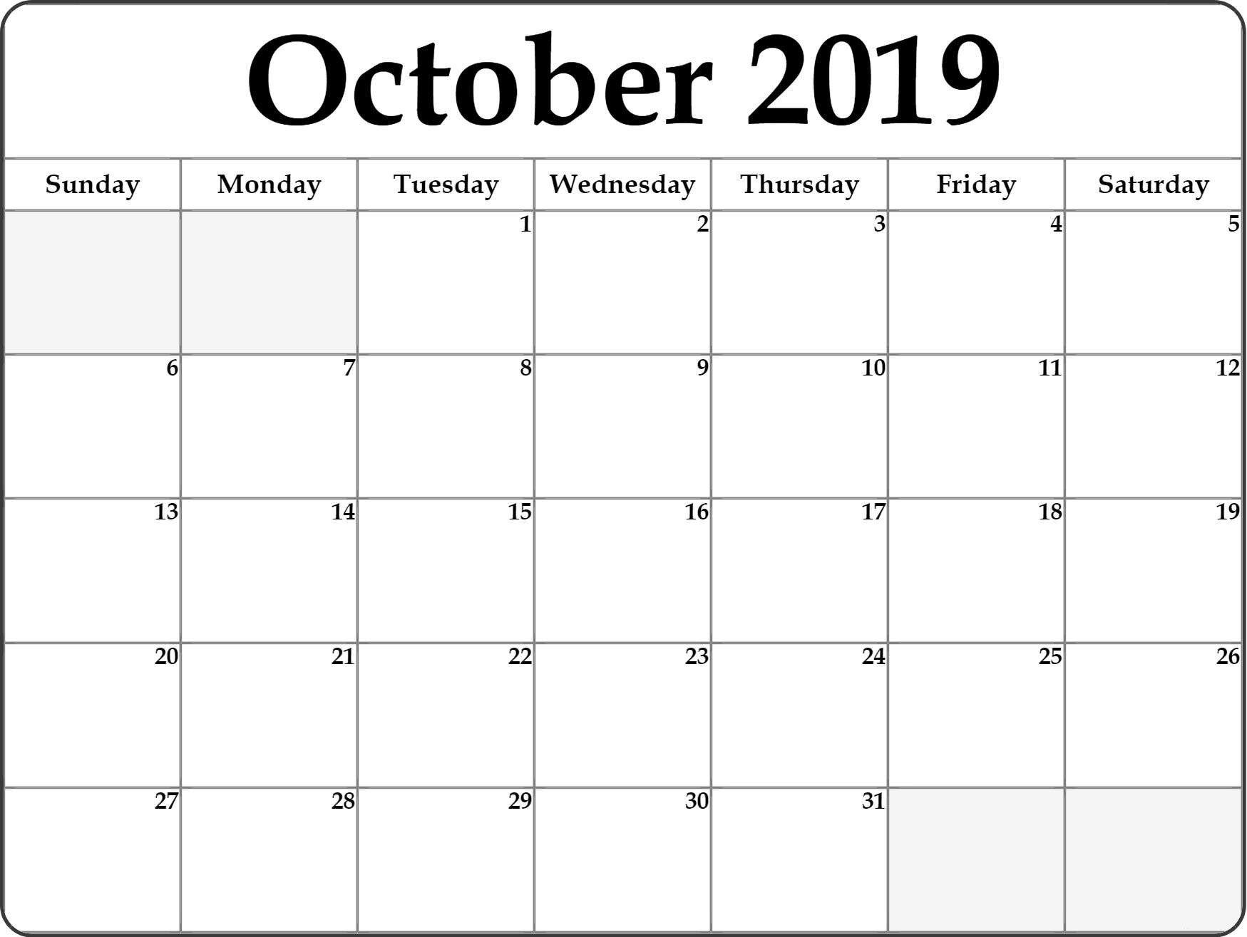 Print Fillable October 2019 Calendar Blank Free Printable Calendar Monthly Editable Calendar Calendar 2019 Printable