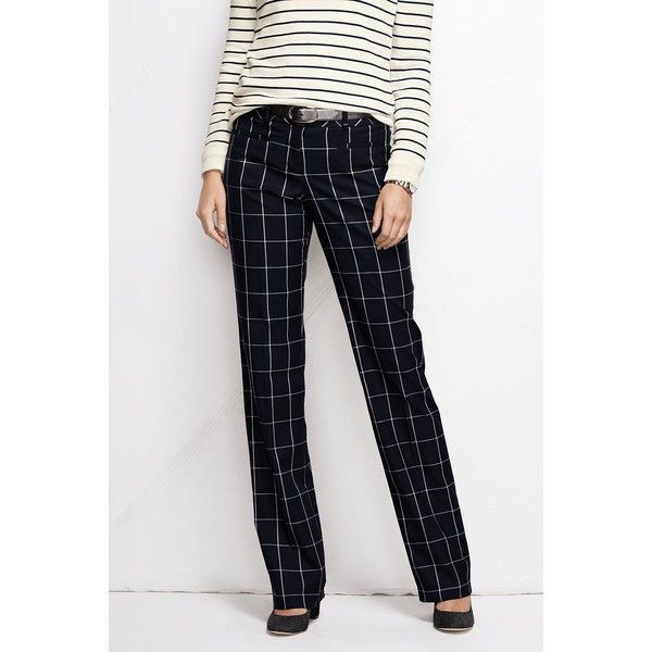 Lands' End NQP Yarn Dye Wear to Work Trouser Pants ($35) ❤ liked on Polyvore featuring pants, navy windowpane, petite, navy blue pants, slim fit pants, slim fit navy pants, wet look pants and petite trousers