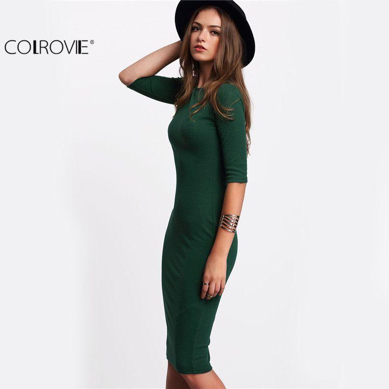 60daf1b0acb COLROVIE работы Летний стиль Для женщин Bodycon платья Sexy Новое  поступление 2017 года Повседневное зеленый шеи экипажа половина платье миди  с рукавами