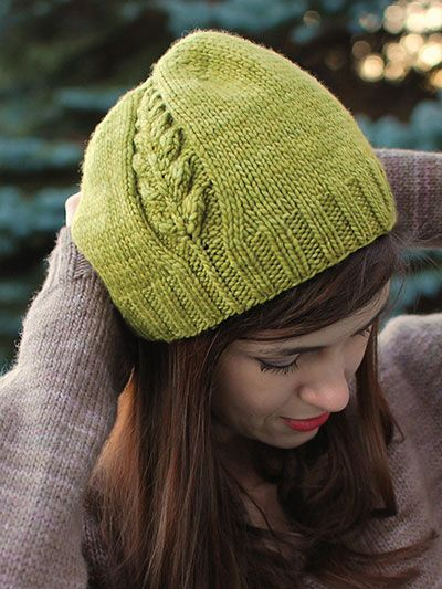 Knitting Pattern For Beanie Hat With Plant Leaf Motif On Side