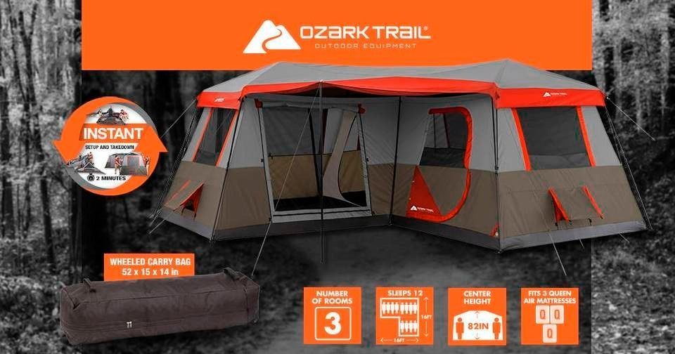 Groovy 12 Person Camping Tent 3 Room Instant Cabin Pop Up Easy Set Download Free Architecture Designs Rallybritishbridgeorg