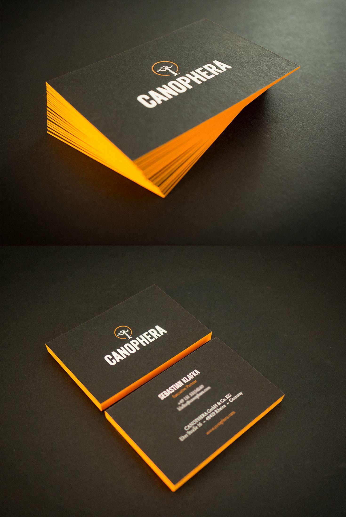 Schwarze Visitenkarten Mit Heißfolienprägung Weiß Und Orange