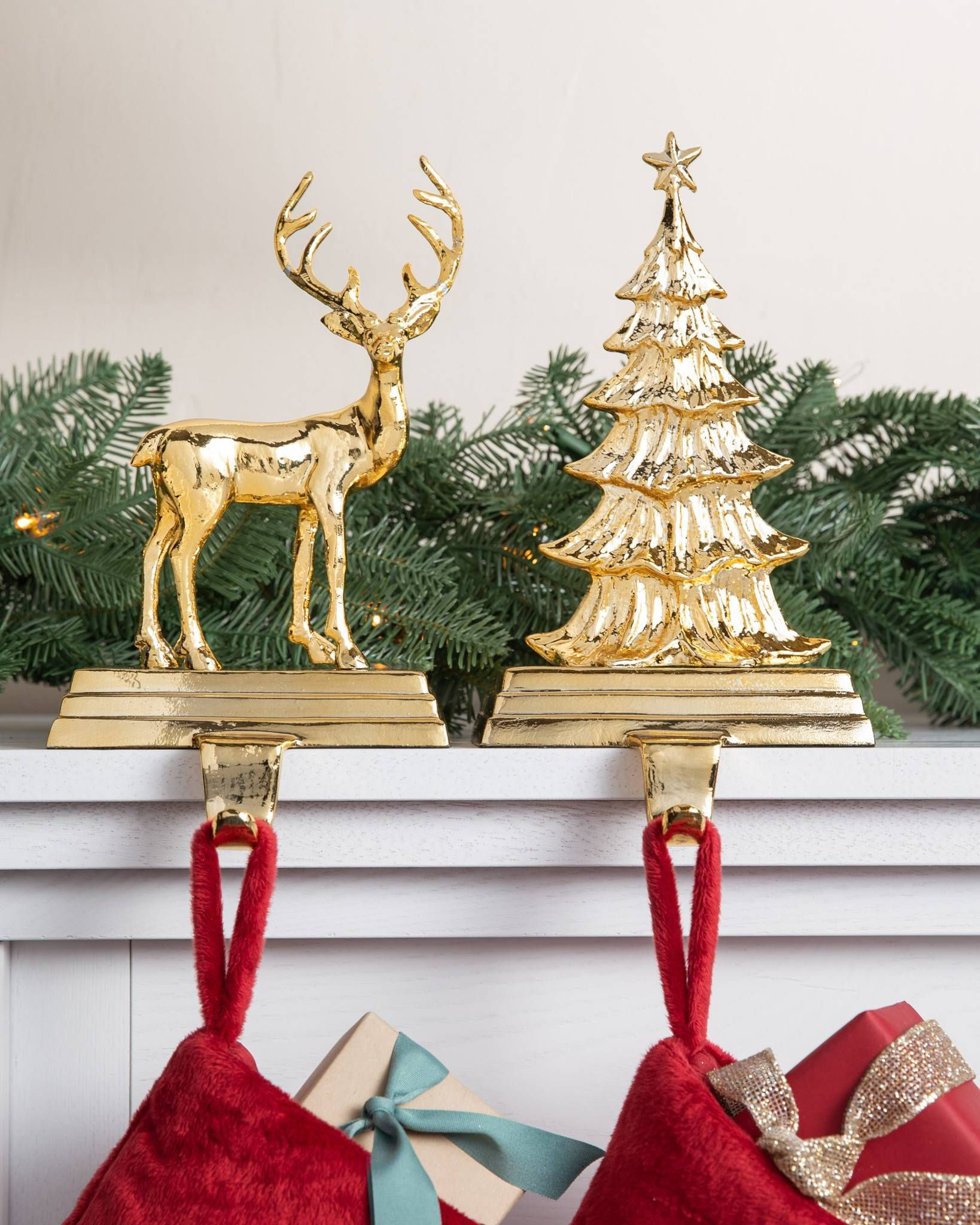 Cast By Hand From Pure Aluminum These Holders Are Heavily Weighted To Keep Your Stockings Secure Throug Stocking Holders Christmas Collectibles Holiday Mantel