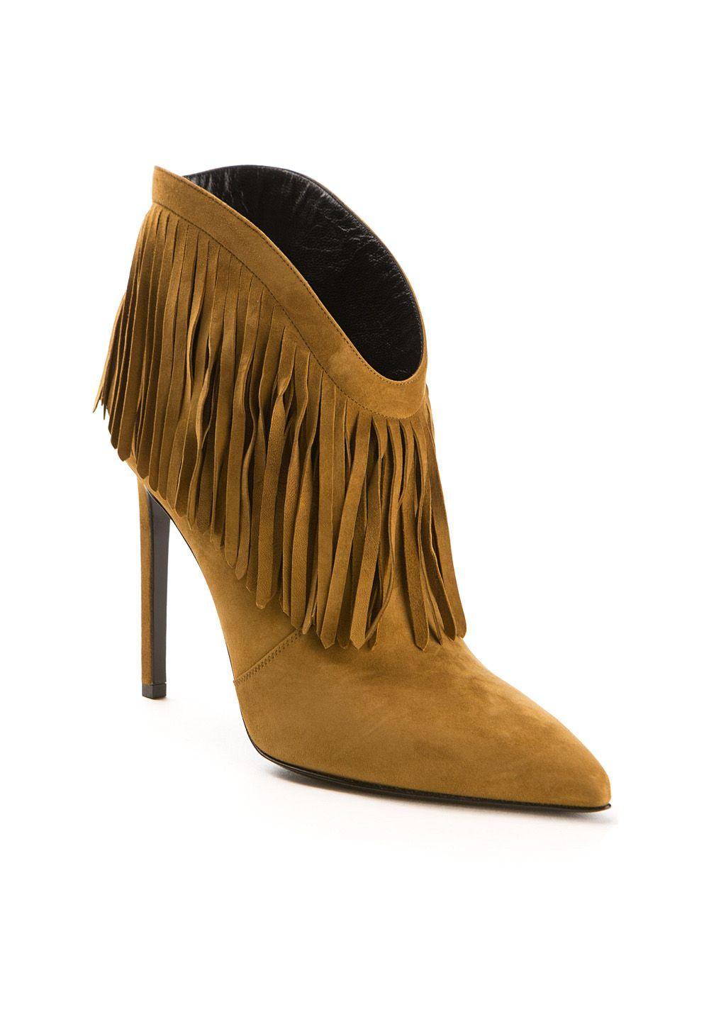 Saint Laurent Ankle boots :: Saint Laurent beige suede fringed Paris ankle boots | Montaigne Market