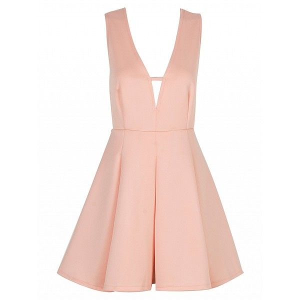 Choies Pink Plunge Neck High Waist Skater Dress (€22) ❤ liked on Polyvore featuring dresses, vestidos, pink, high waist dress, pink dress, plunging neckline dress, pink skater dress and skater dress