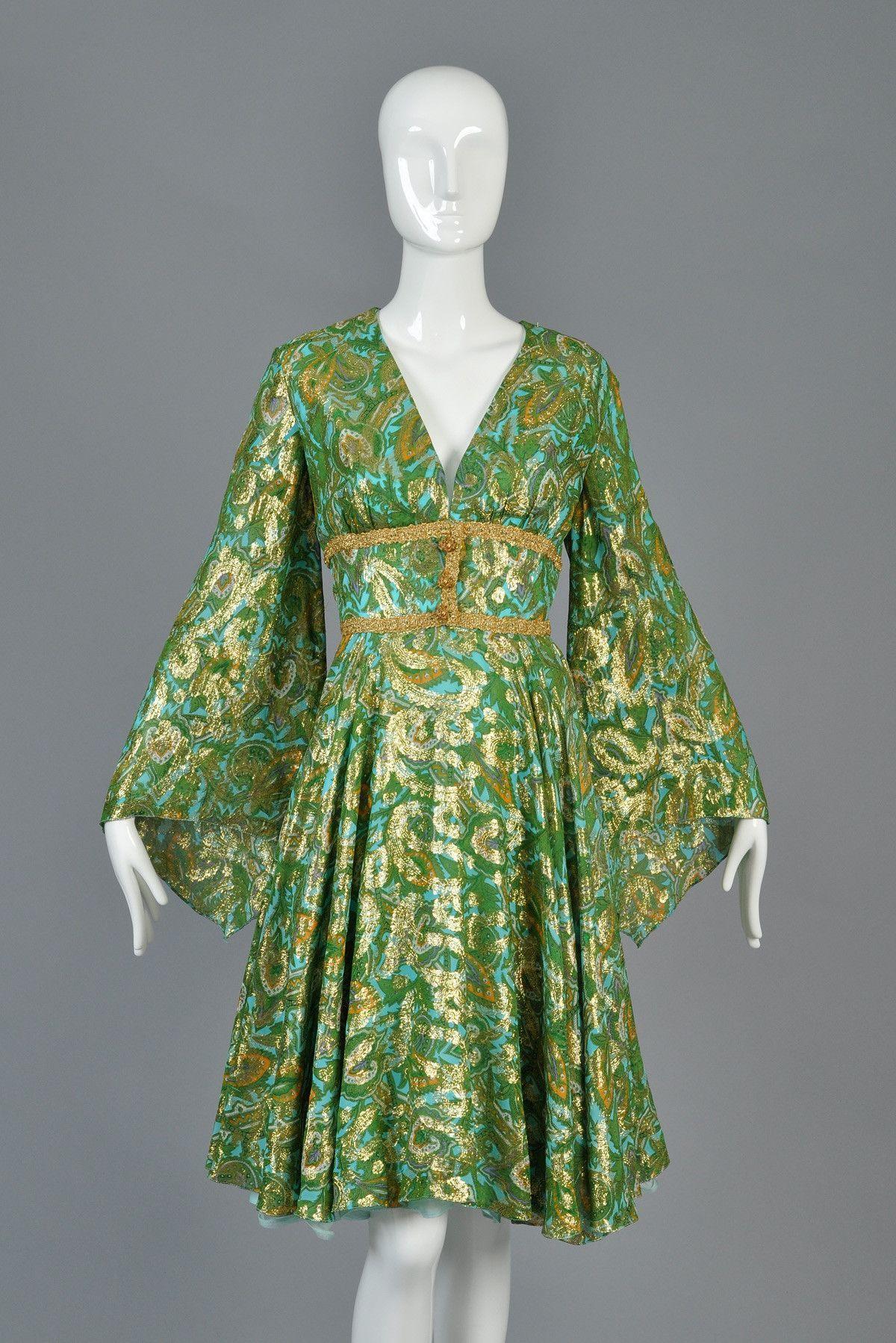 S fred perlberg metallic silk brocade dress wangel sleeves