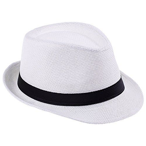 64577e7e58693 Elee Unisex Kids Straw Trilby Fedora Cap Jazz Hat Short Brim Sunat (   HatsDressUpToys