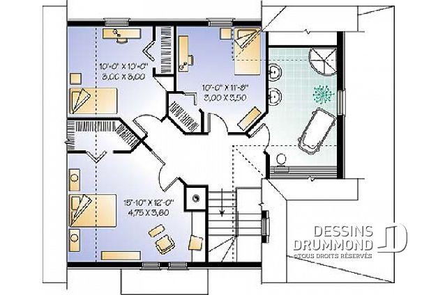 Étage - 3 chambres, 2 salles de bain, buanderie à l\u0027étage, cuisine