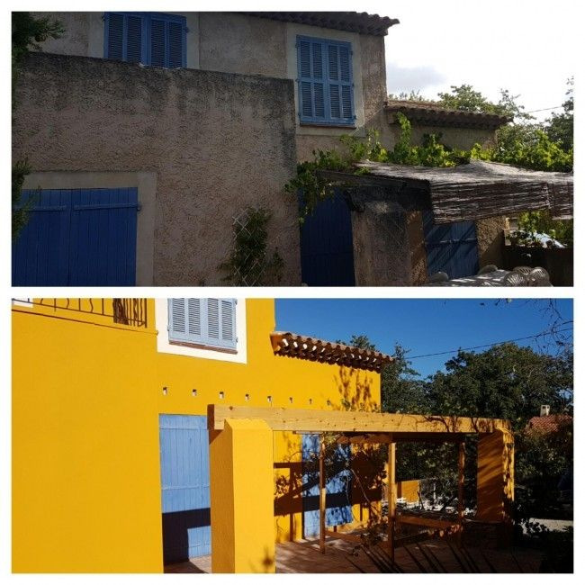 Façade jaune - rénovation maison ancienne Façades du Var - #Vertikal - renovation maison ancienne photos