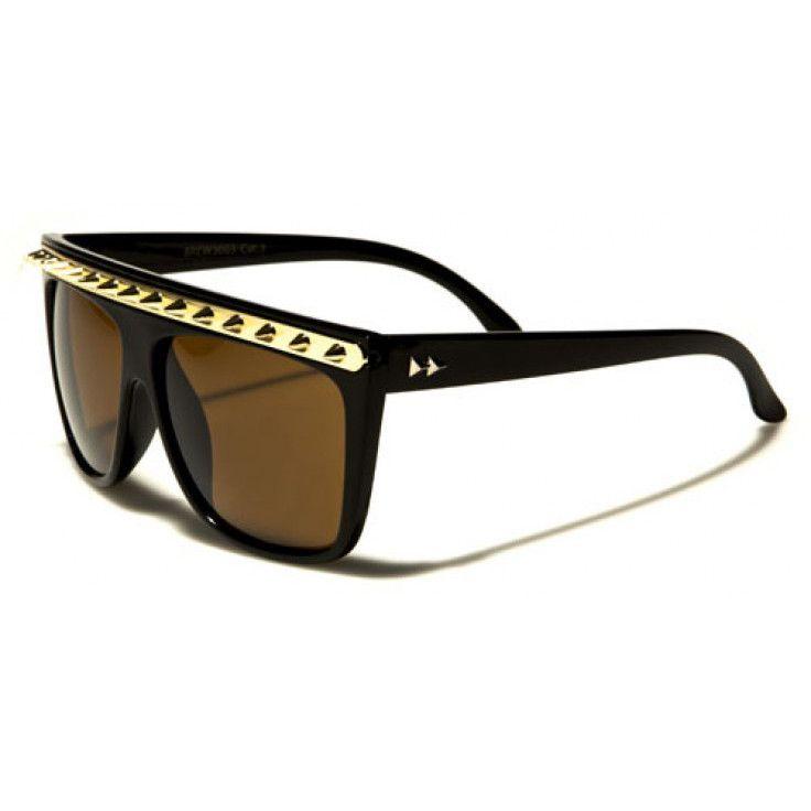 d77791c4d8 Retro Rewind Unisex Plastic Frame Golden Spikes Glasses Black with Brown  Lenses