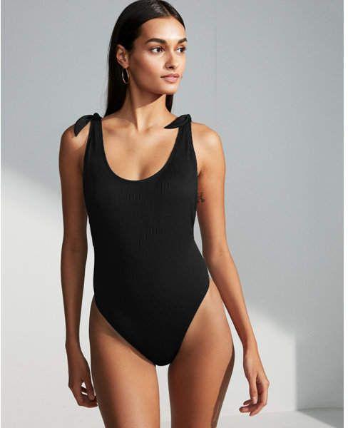 340da75520 Ribbed Ultra High Leg One-Piece Swimsuit Black Women s XS