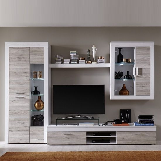 Baltic Wooden Living Room Set In White And Oak With Led Living