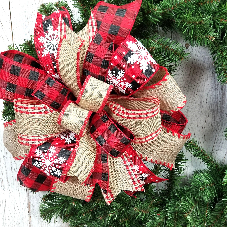 Farmhouse Christmas Wreath Bow, Buffalo Plaid and Burlap
