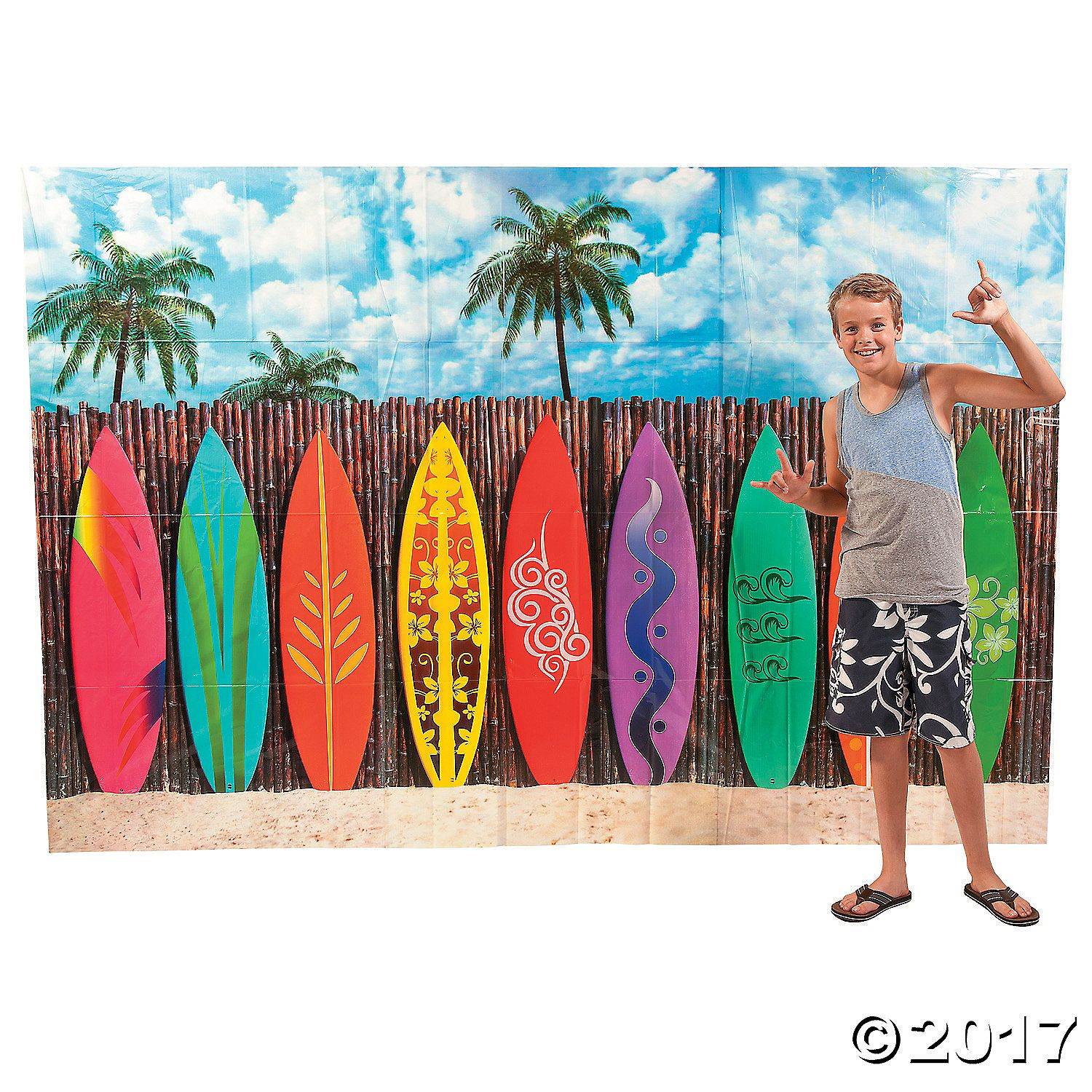 Make big waves at your tropical birthday party or beach bash with this Surf's Up Surfboard Backdrop Banner. Give your event a tubular touch in an instant ...