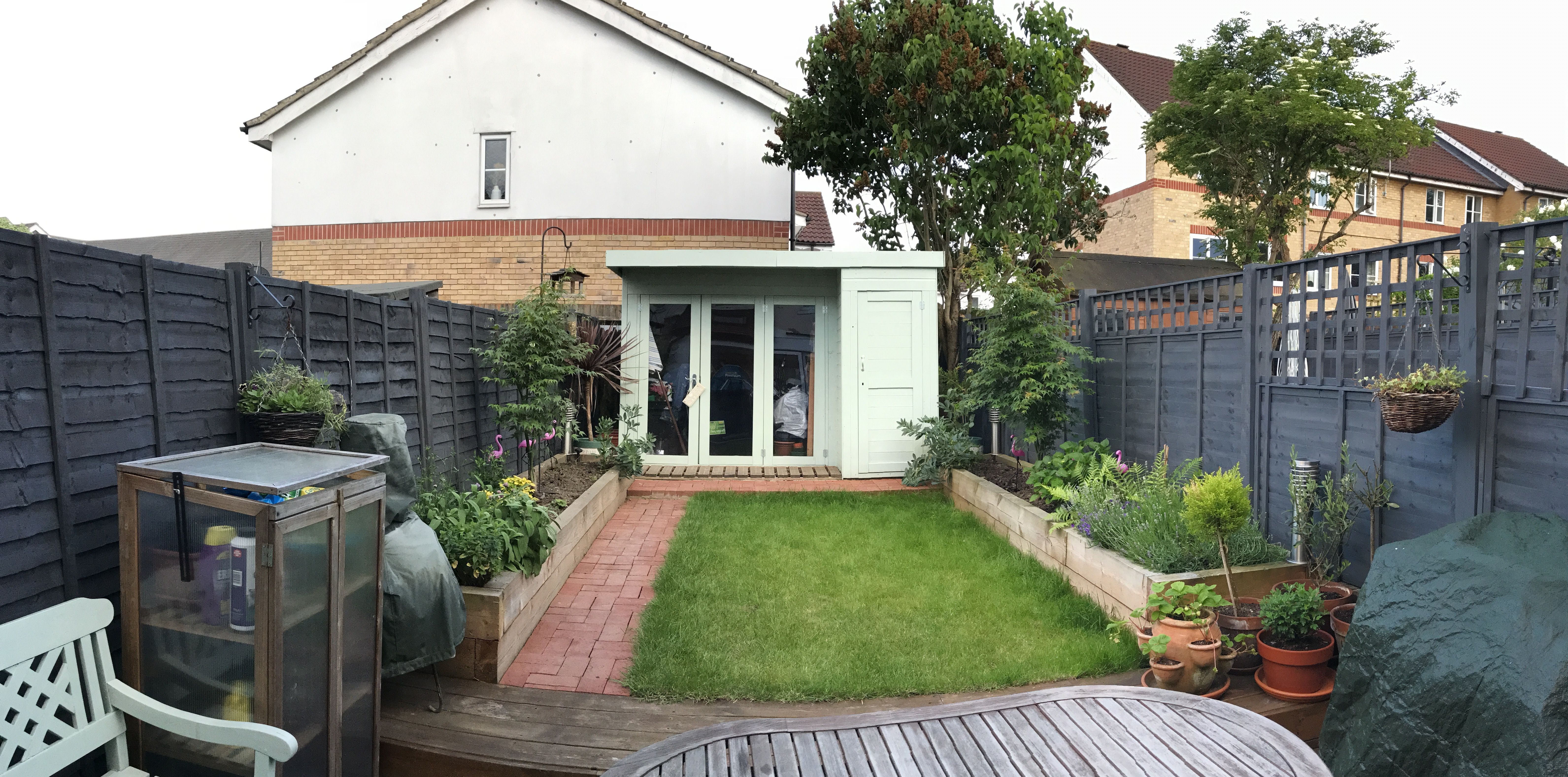 My Newly Painted Garden Fence In Cuprinol Silver Copse And Summer House In Cuprinol Fresh Rosemary Garden Fence Cheap Garden Fencing Garden Front Of House