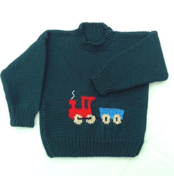 Boys green train sweater , 6 to 7 years boy , Kids hand knit
