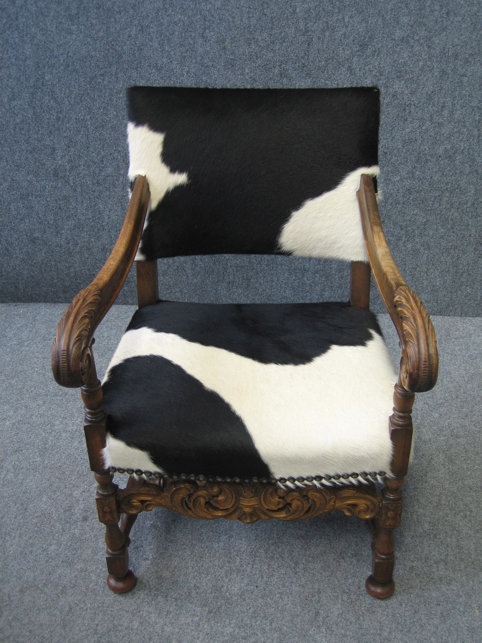 Black And White Cowhide On A Vintage Empire Chair  Www.retropiahomewares.com.au
