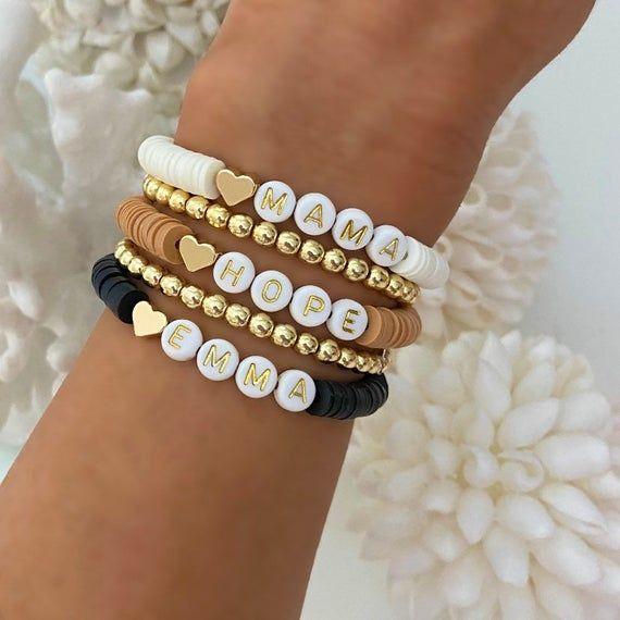 Photo of Chic Sweetheart Heishi Bracelet   Personalized Name Bracelets   Custom Word Heishi Bracelets   Name Bracelet   Gold Heart Womens Bracelets