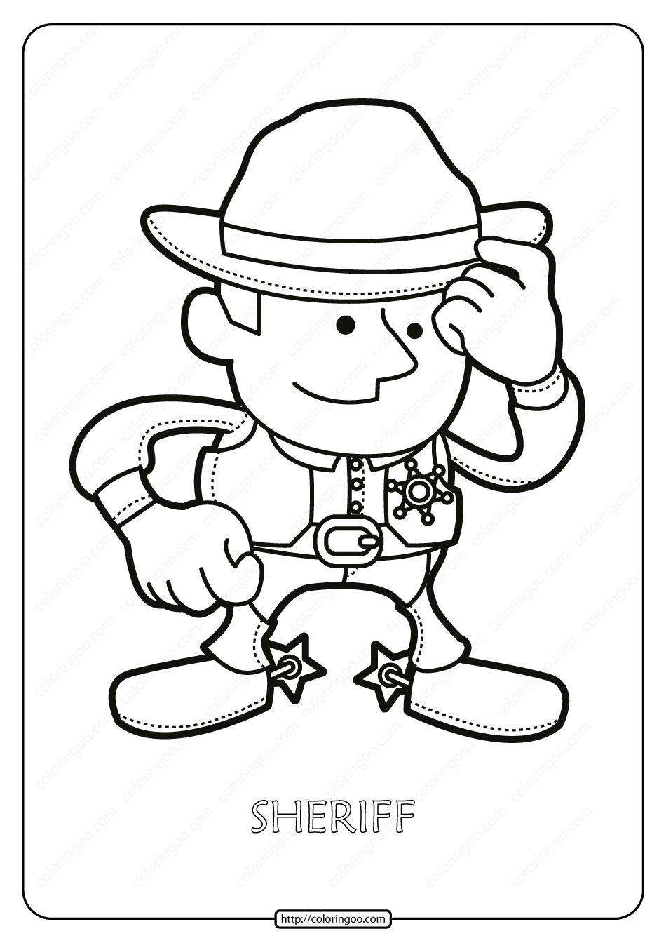 Free Printable Sheriff Pdf Coloring Page Coloring Pages Color Free Printables