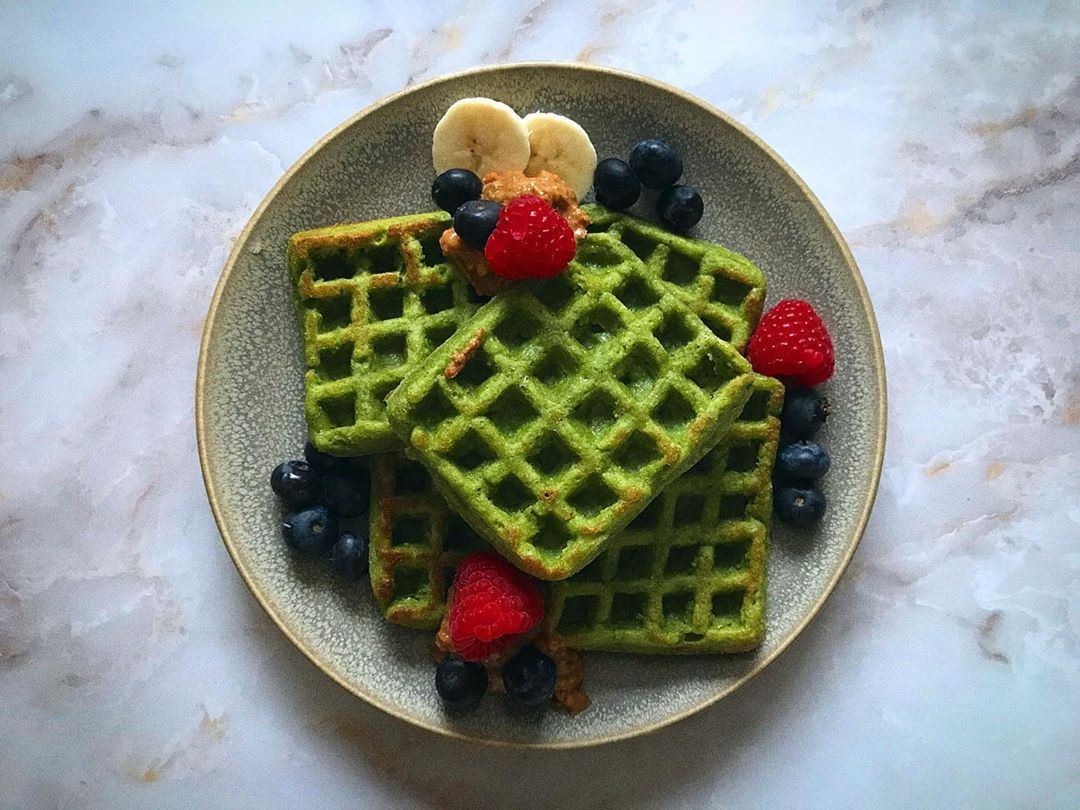 Waffle Friday well its almost the weekend so a perfect nutrient and fuel packed breakfast to start the day...Banana, Spinach and Avocado Waffles topped with manilife_ peanut butter (of course) and berries...bring on this sunny weekend