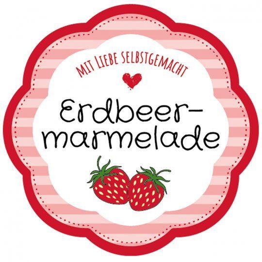 Gratis Vorlage Etikett Blumenform Erdbeermarmelade