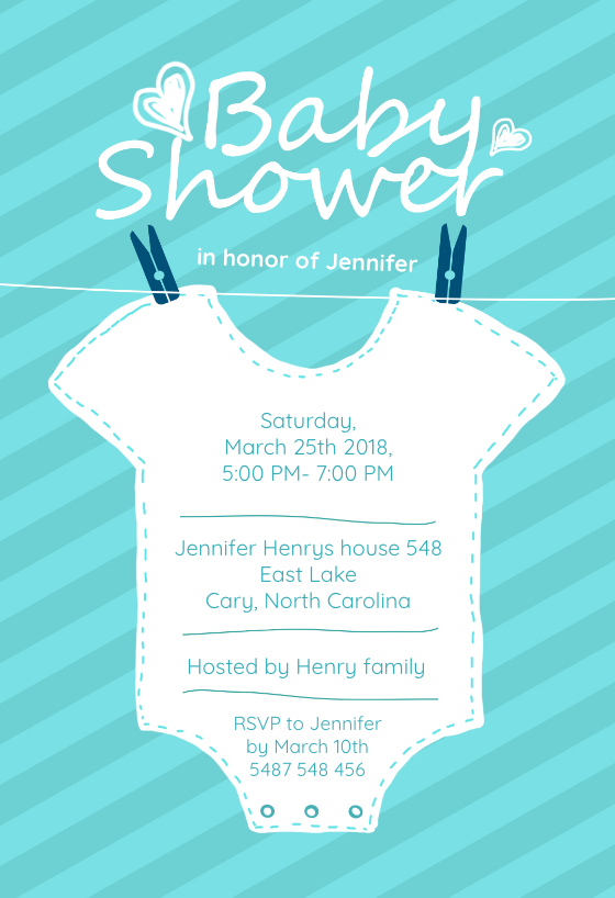 baby blue stripes invitation template customize add text and