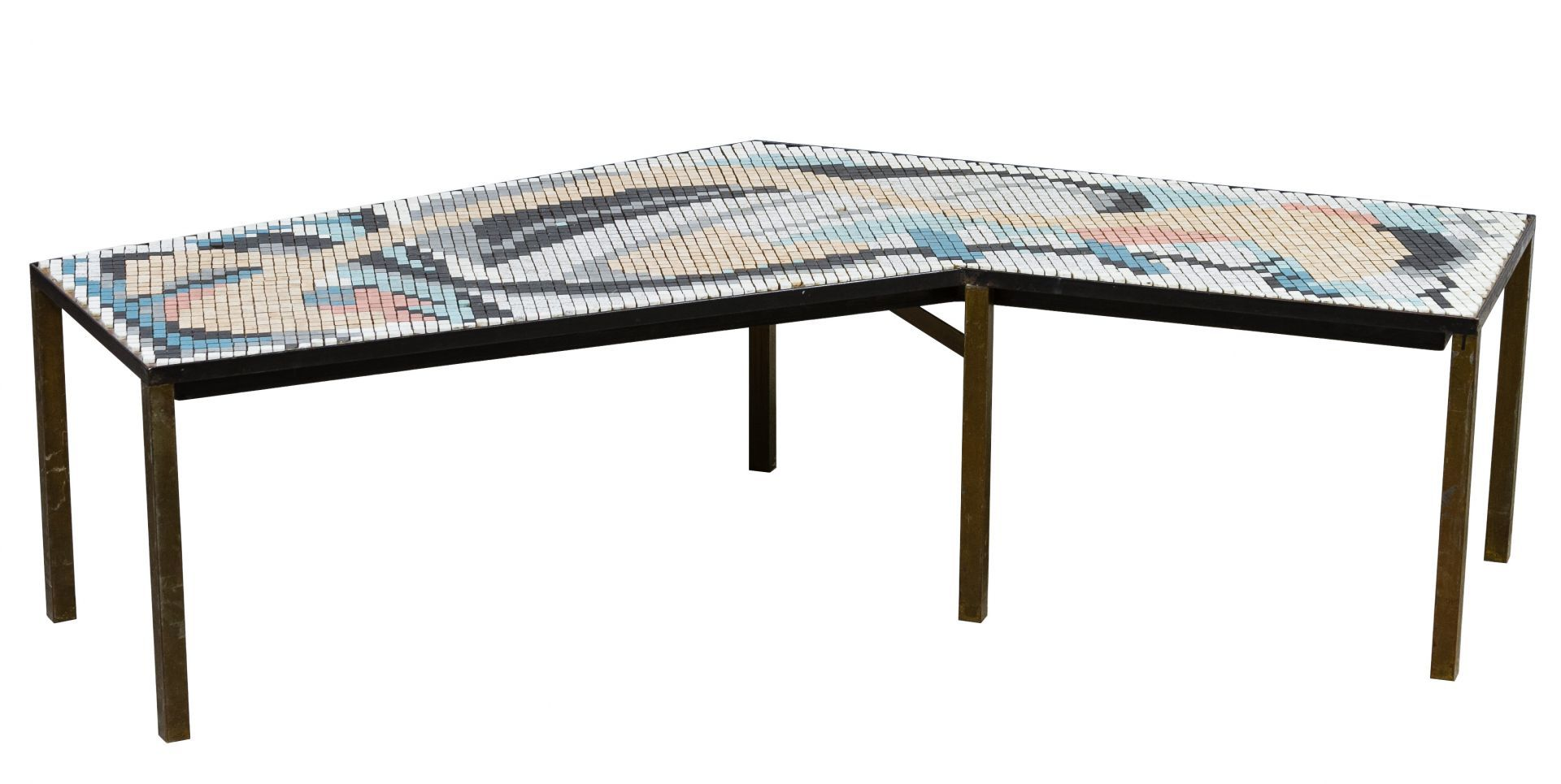 Lot 592: MCM Tile Top Coffee Table; Boomerang Shaped Table With Six Legged