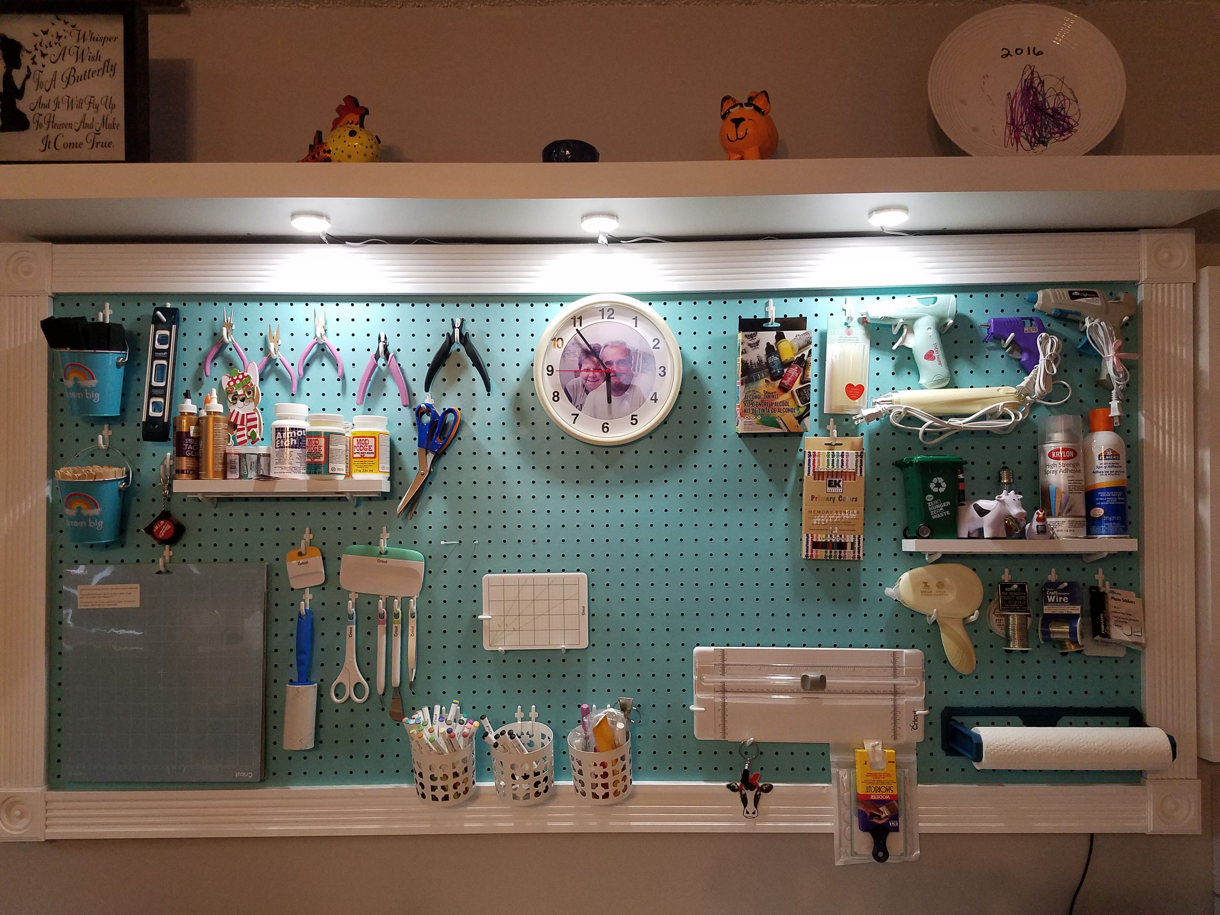 Large Framed Pegboard to Organize Your Craft Room