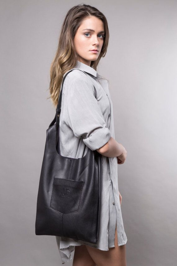 Black leather bag black leather tote bag women bags by JUDtlv