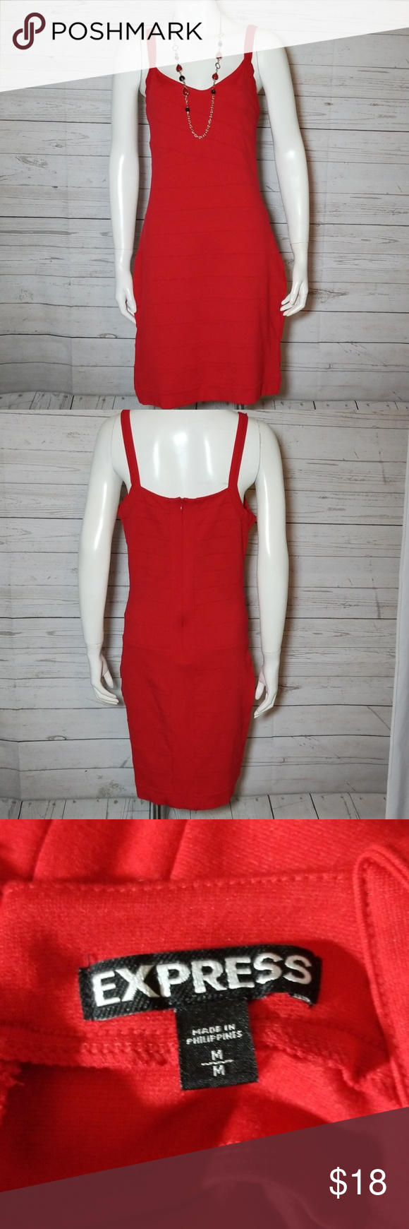 🌼Express Ribbed Red Dress Size Medium Waist laying flat. 15 1/2 inches stretch material. Waist to hem 20 inches. #0131 Express Dresses