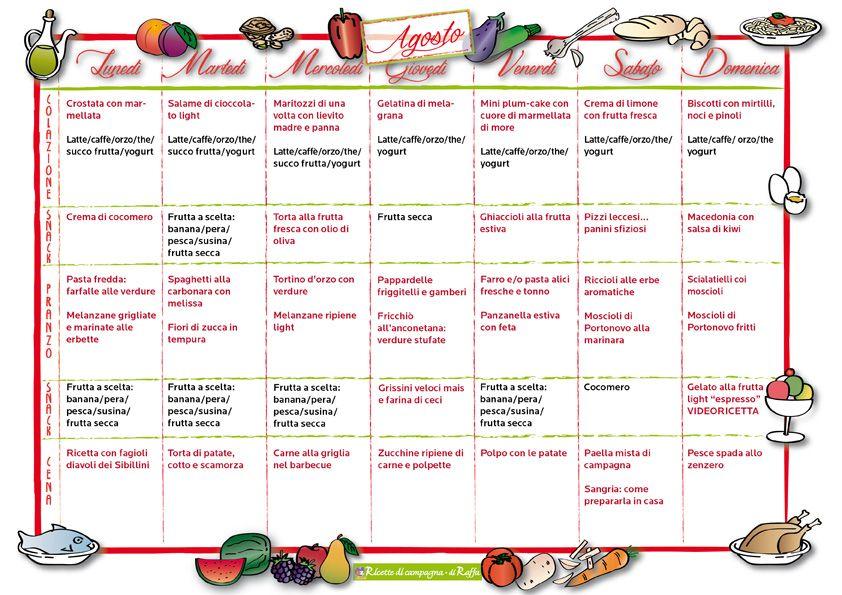 Men della settimana per agosto cose interessanti menu for Ricette per tutti i giorni della settimana