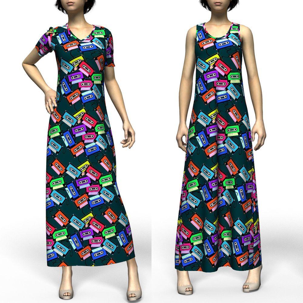 Colorful casette tapes new short sleeve u sleeveless maxi dress size