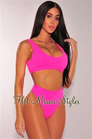 92b9a21258c Neon Pink High Waist Bikini | georgeouse | Bikinis, Bikini swimwear ...