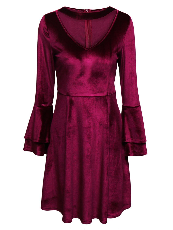 Burgundy plunge choker neck flared sleeve velvet dress finery