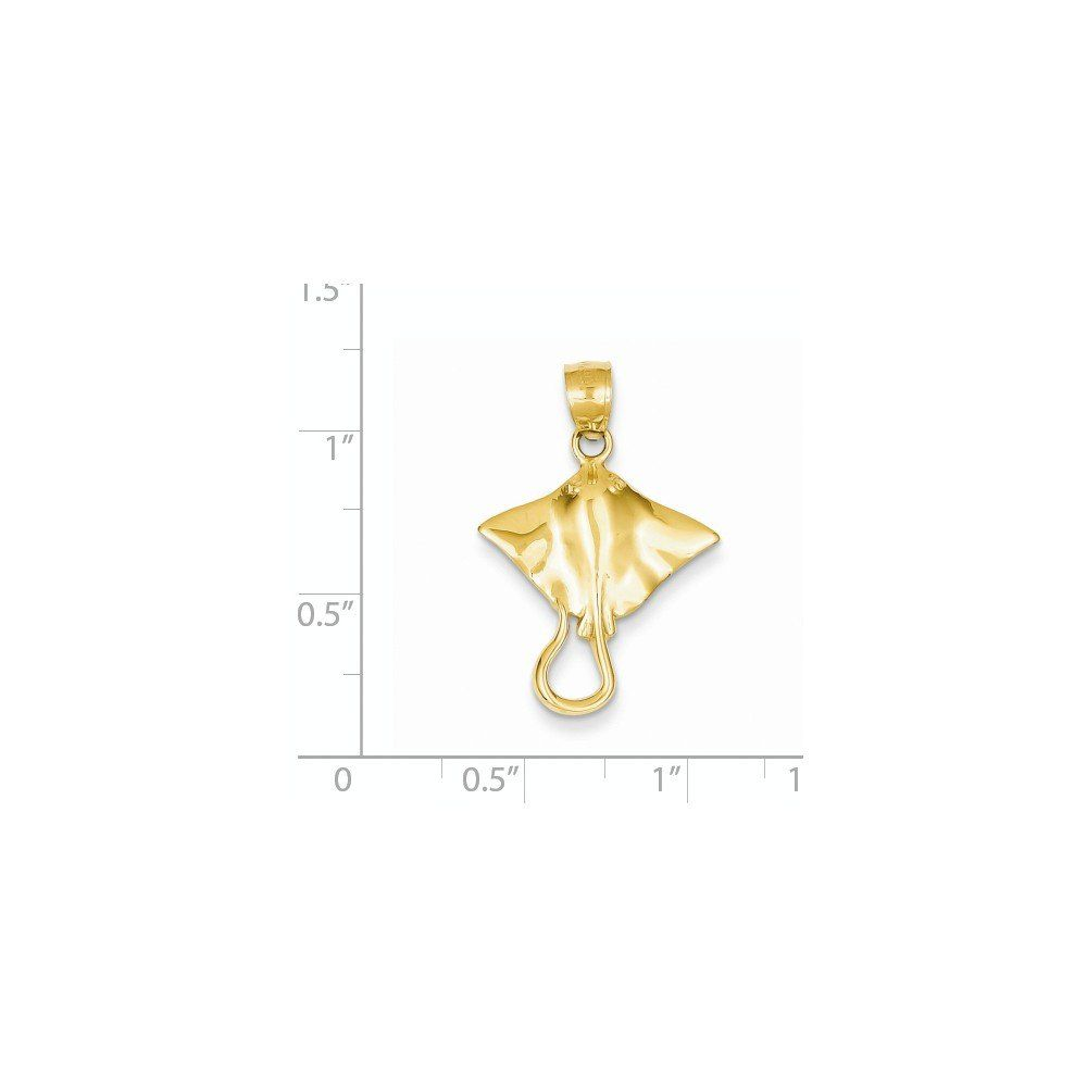 14k Yellow Gold Stingray Pendant. Solid 14k Yellow Gold ( not gold-filled, not gold-plated). Dimensions: Charm Length:27mm   Charm Width:18mm. Certficate of Authenticity Card Included.