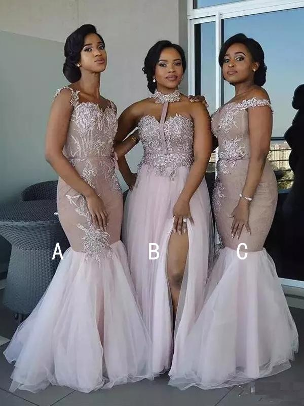 Dusty Pink Tulle Applique Mismatched Mermaid Bridesmaid Dresses Db135 Mermaid Bridesmaid Dresses Off Shoulder Bridesmaid Dress Tulle Bridesmaid Dress