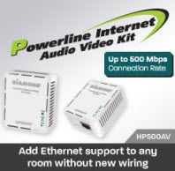 Diamond HP500AV 500Mbps AV Powerline Ethernet Adapter Kit  HP500AV    Now you can easily connect your internet ready devices to an Ethernet connection without the hassle of wiring. The Diamond HP500AV connects PCs, modems, routers, game consoles and IP set-top boxes via power lines in your home.