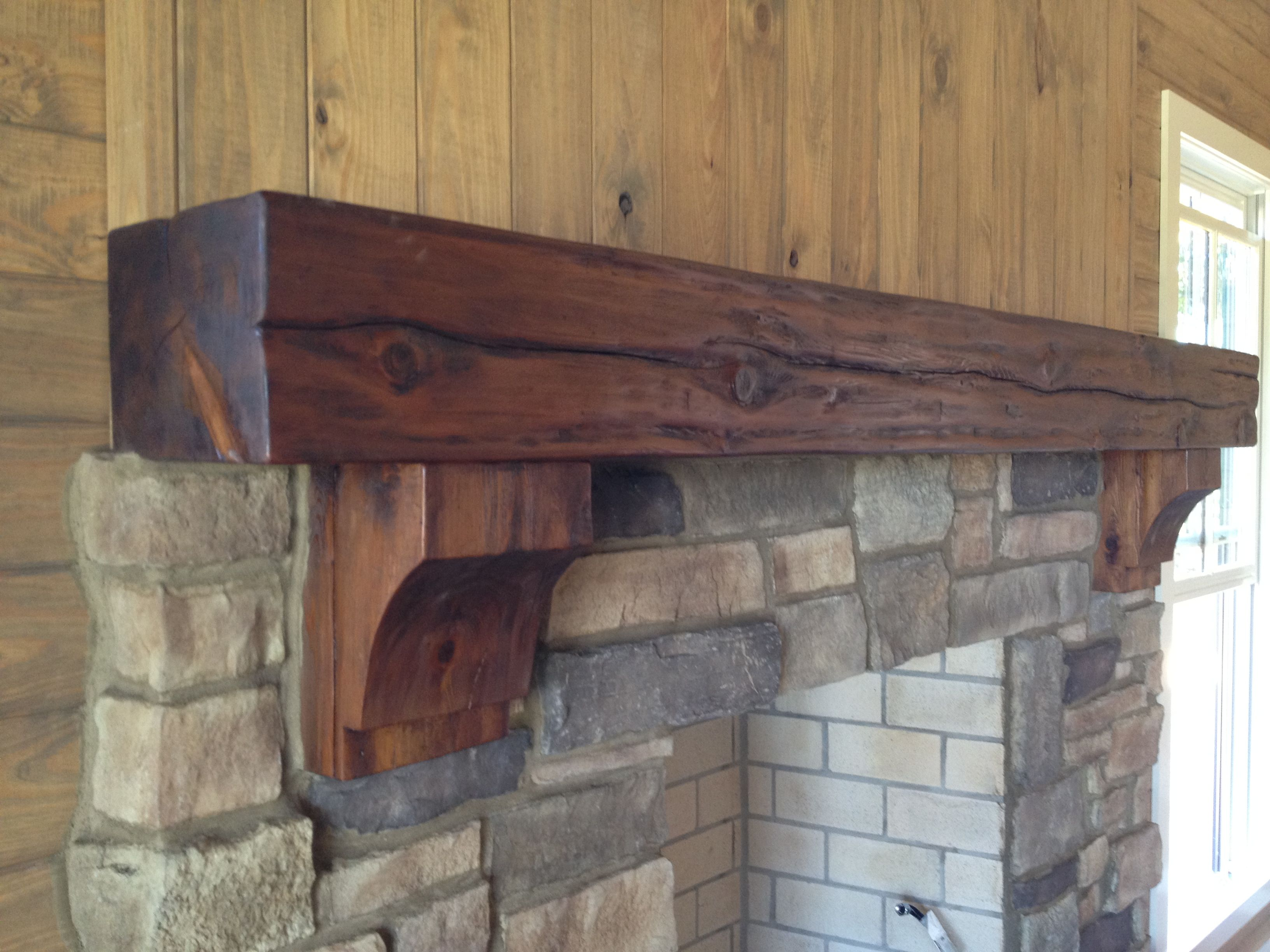 Rustic Timber Mantel With Corbels By