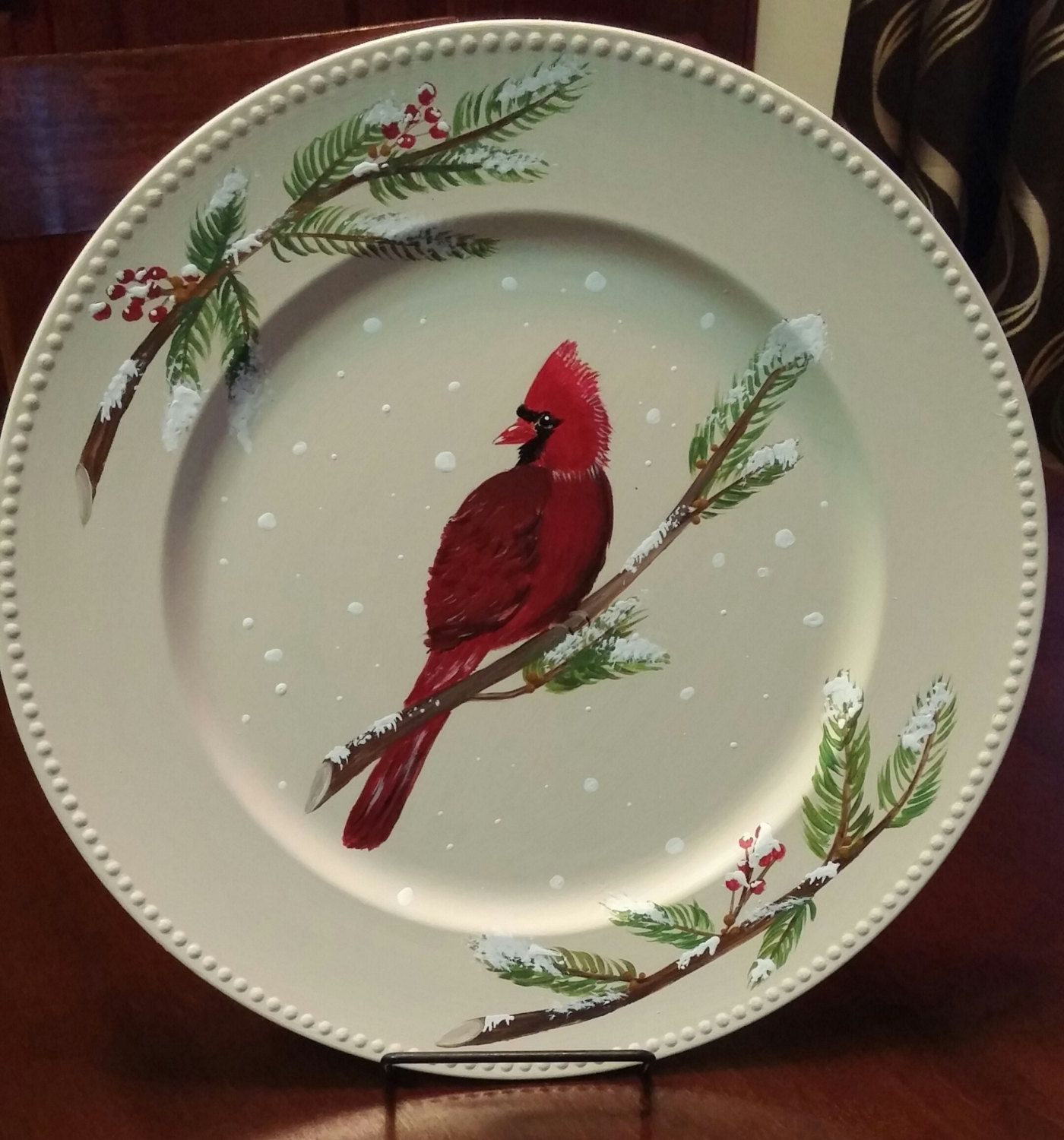 Decorative plate winter plate Christmas decor hand painted plate decorative platter & Decorative plate winter plate Christmas decor hand painted plate ...